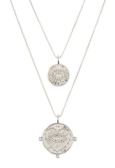 Evil Eye Double Coin Necklace - Silver