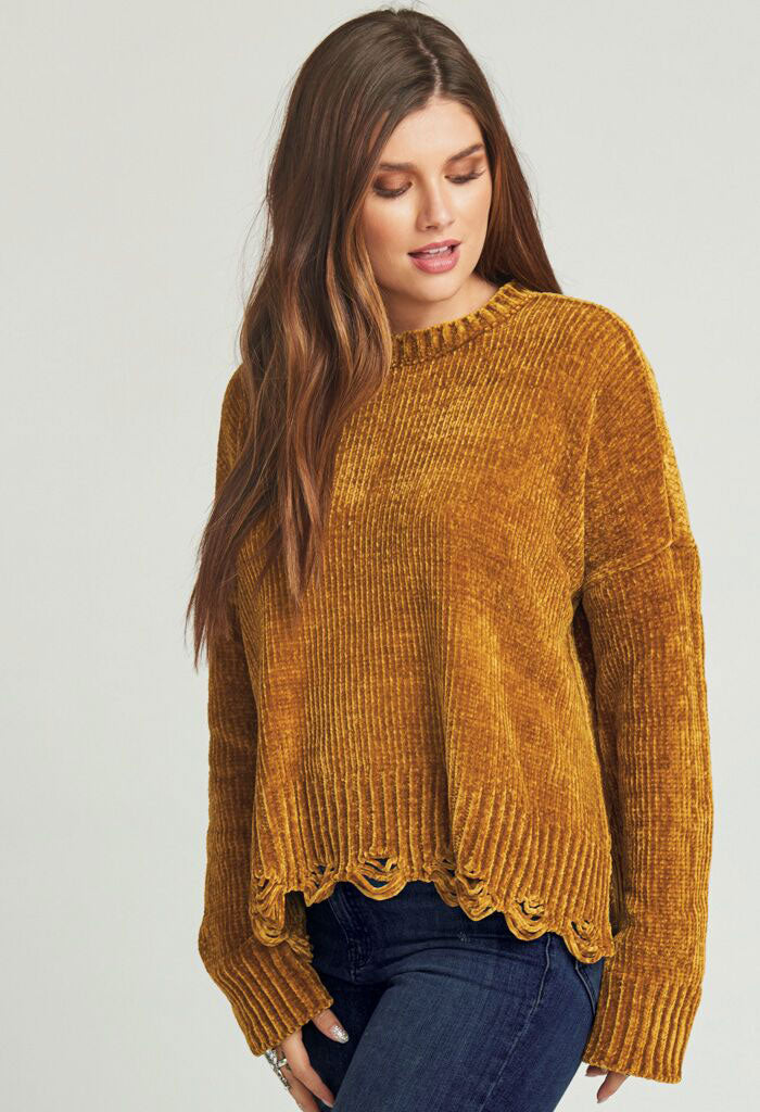 FAWN SWEATER ~ OCHRE CHENILLE KNIT