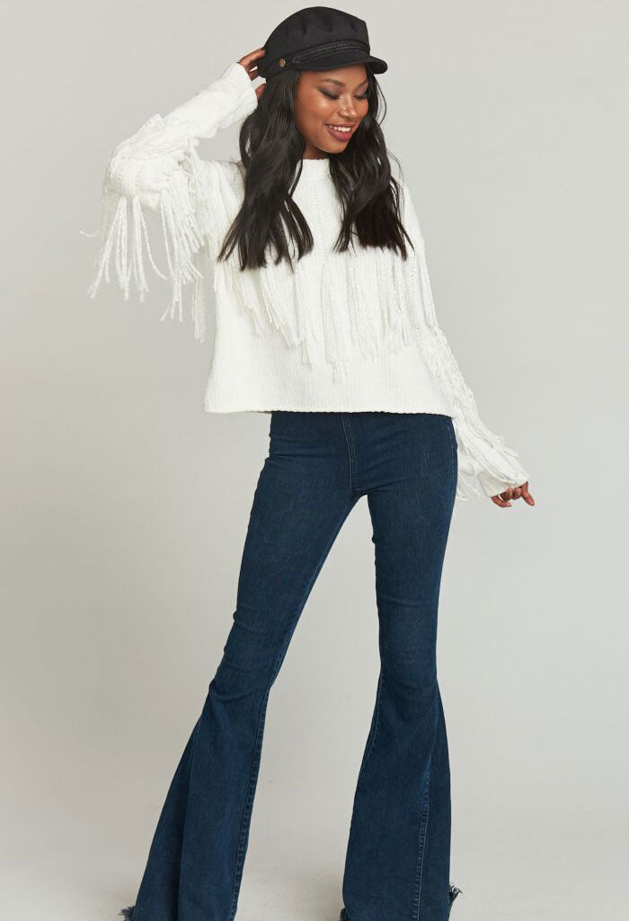CARLTON CROP FRINGE SWEATER ~ ALPINE KNIT