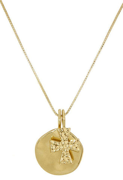 Hammered Cross + Coin Necklace - Gold