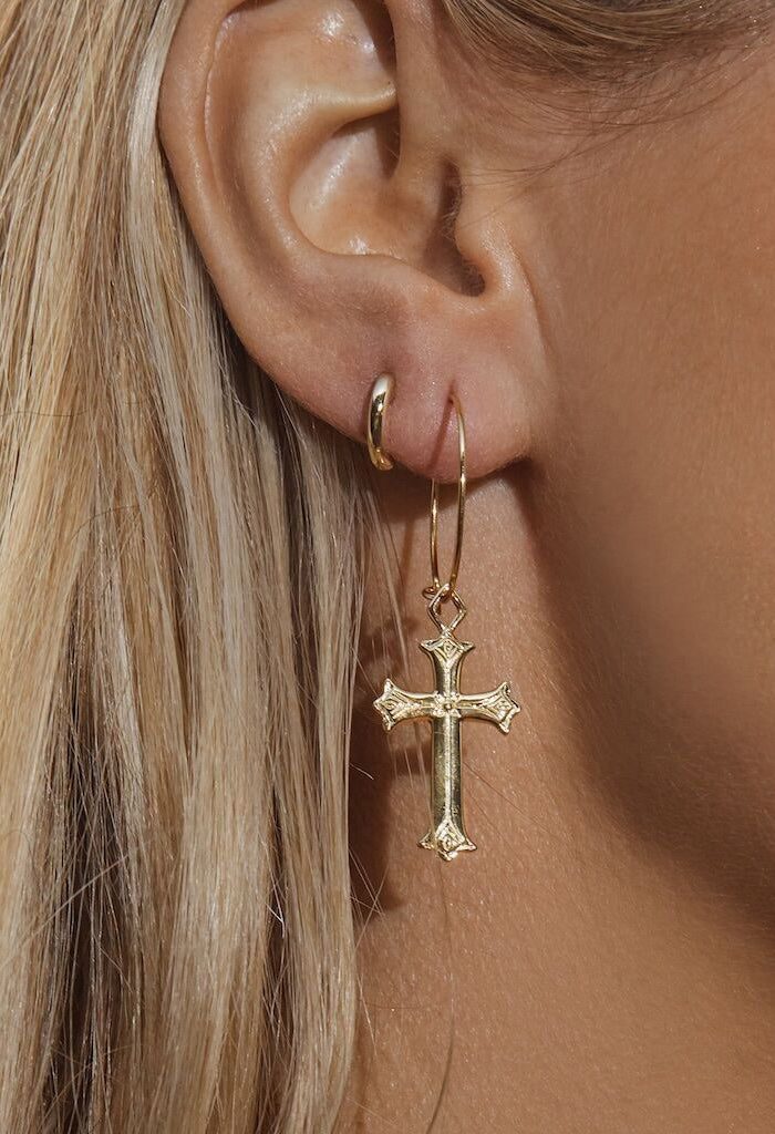 Isidore Cross Hoops - Gold