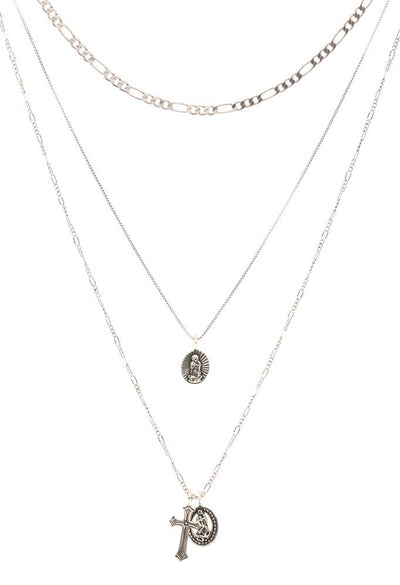 Isidore Cross Charm Necklace - Silver