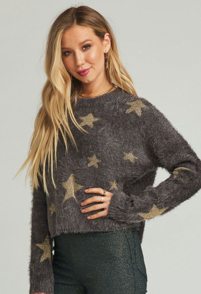 CROPPED VARSITY SWEATER ~ SHINE STAR KNIT