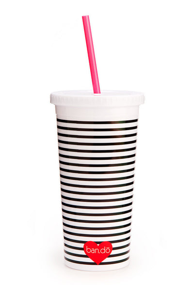 sip sip tumbler with straw - neon heart