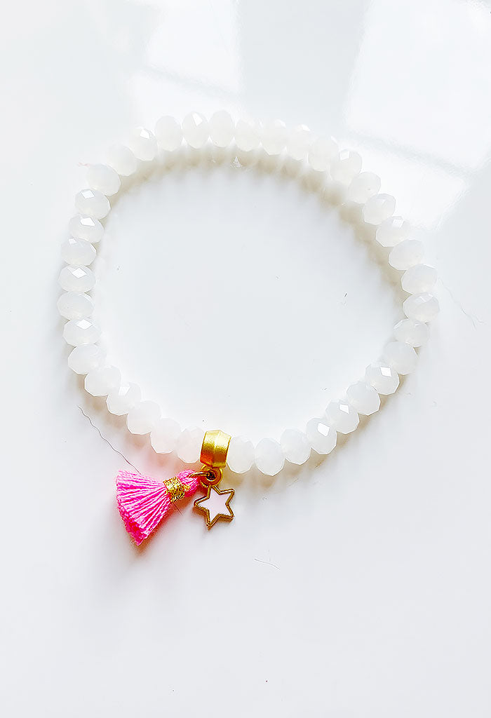 Tiny Star Charm Bracelet-White