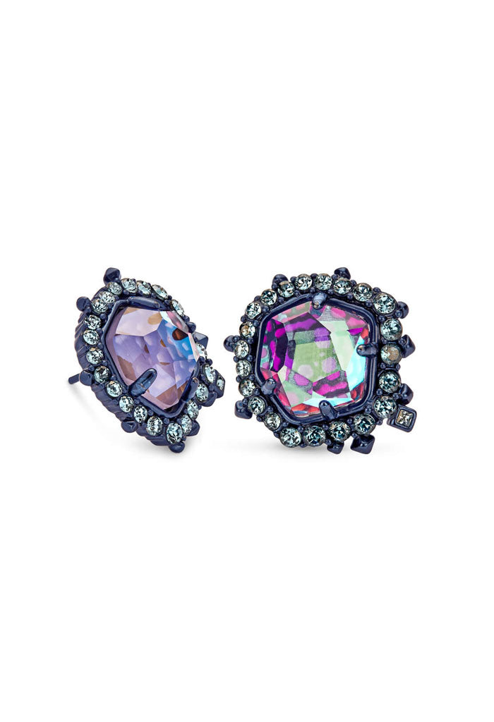 Abelia Navy Gunmetal Stud Earrings In Indigo Dichroic Glass