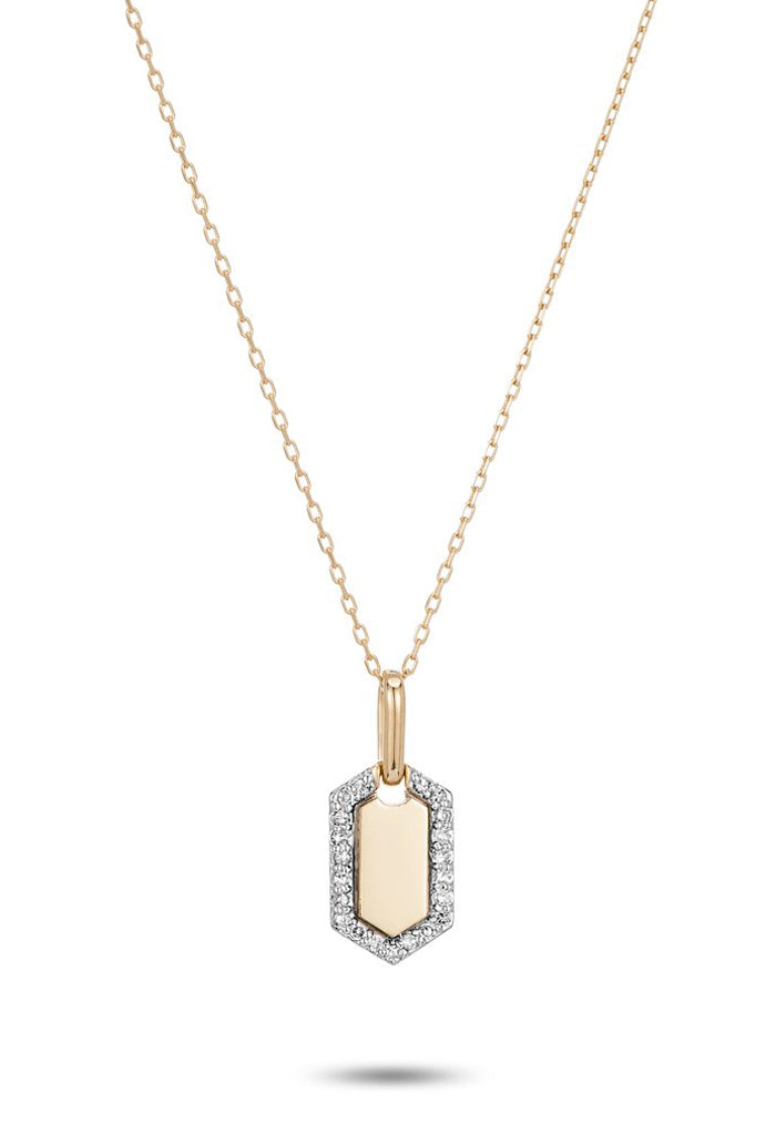 Tiny Pavé Hexagon Dog Tag Necklace