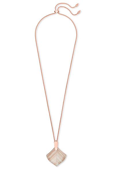 Aislinn Rose Gold Long Pendant Necklace In Gold Dusted Glass