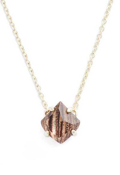 Annaliese Gold Pendant Necklace - Brown Dusted Glass