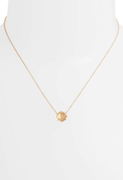 Annaliese Rose Gold Pendant Necklace - Gold Dusted Glass
