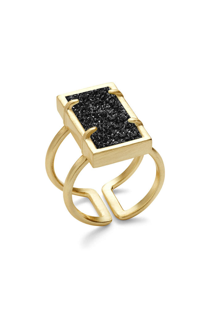 Lennox Ring in Gold - Black Drusy
