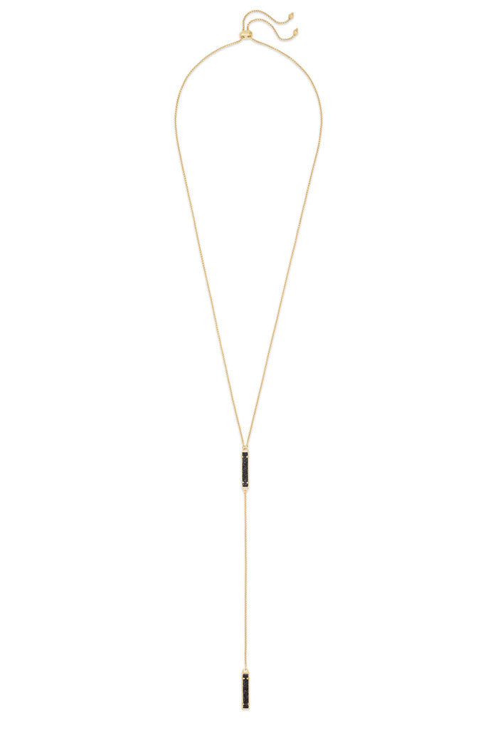 Lilly Gold Y Necklace in Black Drusy