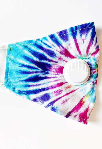 KK Bloom Boutique Tie Dye Multi Colored mask with air valve-side