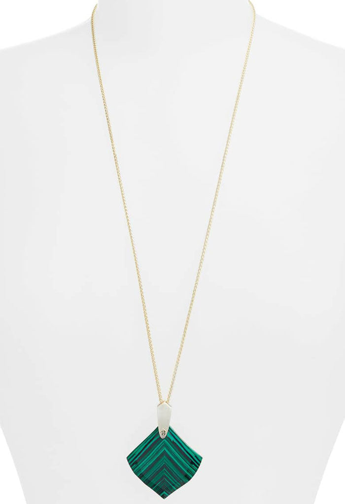 Aislinn Gold Long Pendant Necklace In Green Calsilica