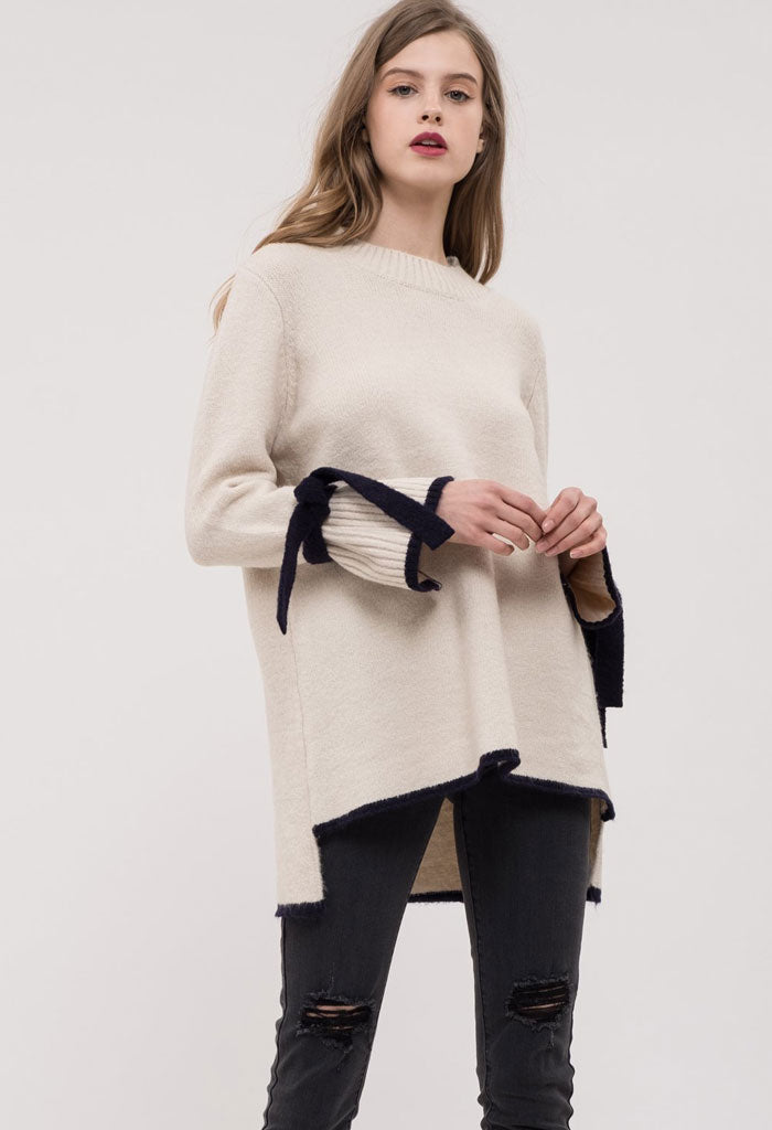 COLORBLOCK HEM TIE SLEEVE SWEATER