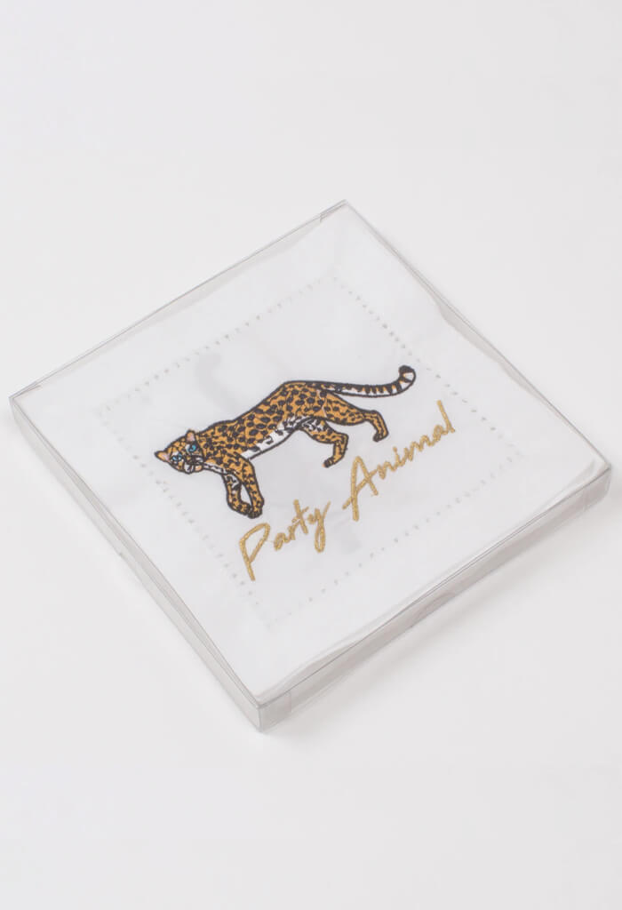 8 Oak Lane Cheetah Embroidered Cocktail Napkins-Set of 4