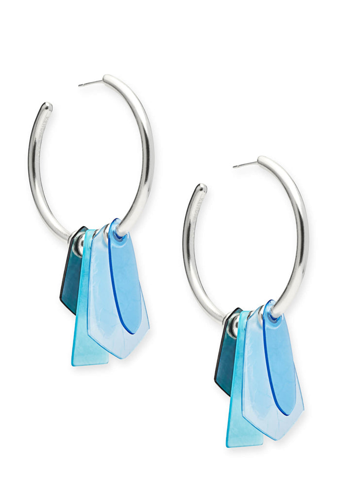 Gaby Bright Silver Statement Earrings In Sky Blue Mix