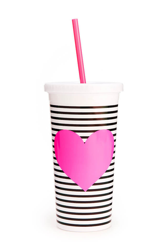 Ban.Do - Sip Sip Tumbler with Straw-Neon heart