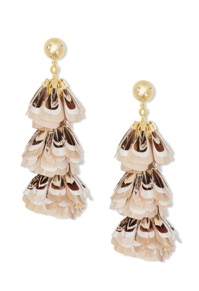 Lenni Gold Statement Earrings In Ivory Feathers