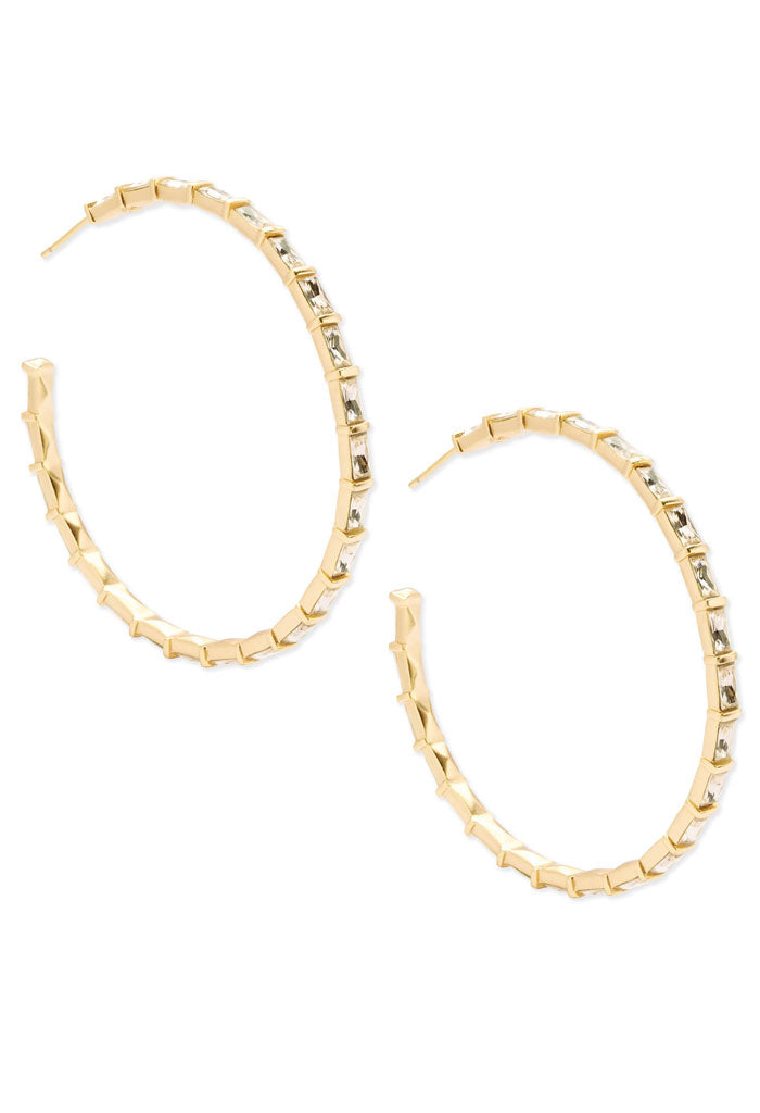 Thora Gold Hoop Earrings in Smoky Crystal