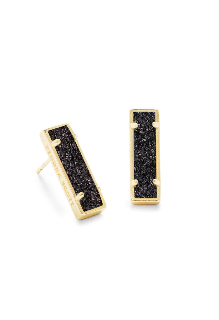 Lady Gold Stud Earrings in Black Drusy