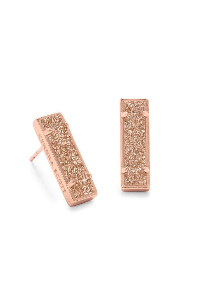 Lady Rose Gold Stud Earrings in Sand Drusy