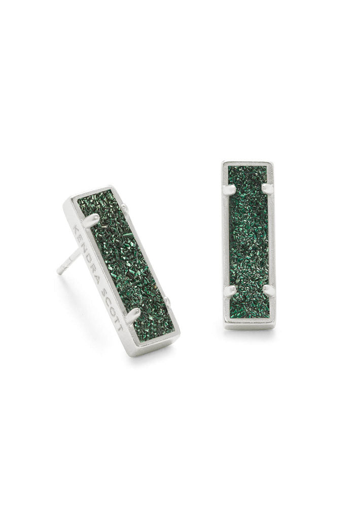Lady Silver Stud Earrings in Sage Drusy