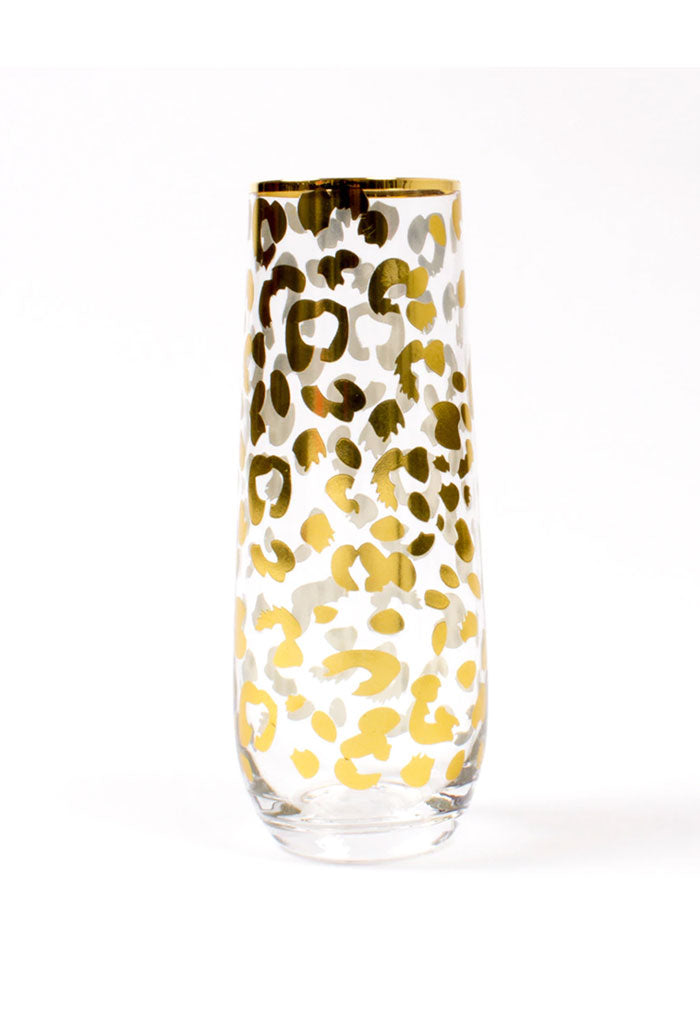 8 Oak lane Stemless Champagne Glass-Gold Leopard