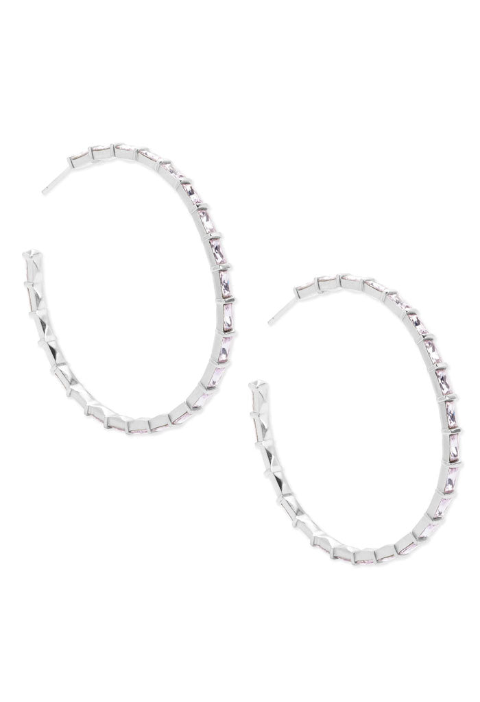 Thora Silver Hoop Earrings in Lilac Crystal