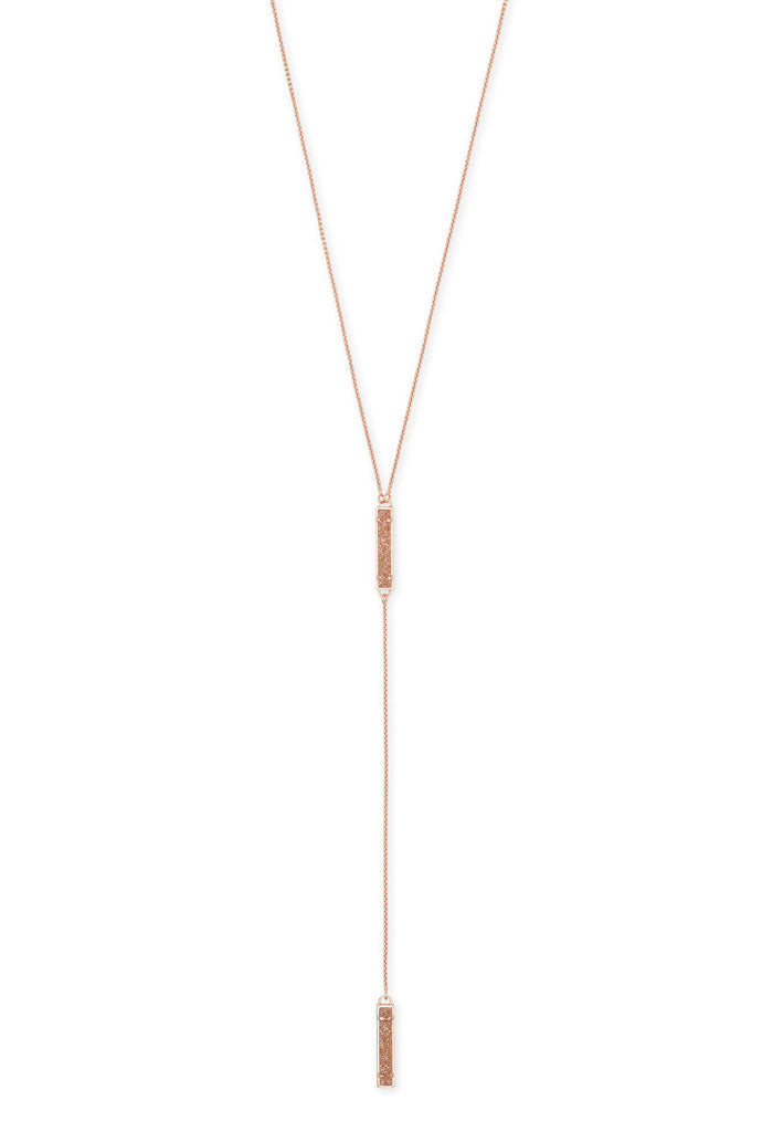 Lilly Rose Gold Y Necklace in Sand Drusy