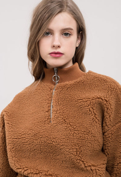 Mock Neck Teddy Pullover