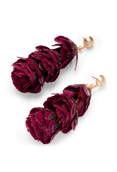 Lenni Rose Gold Statement Earrings In Maroon Feathers