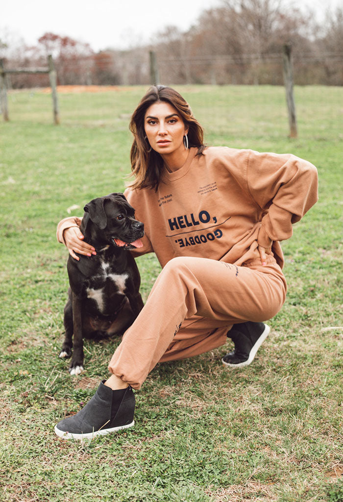 Hello, Goodbye Camel Sweatpants