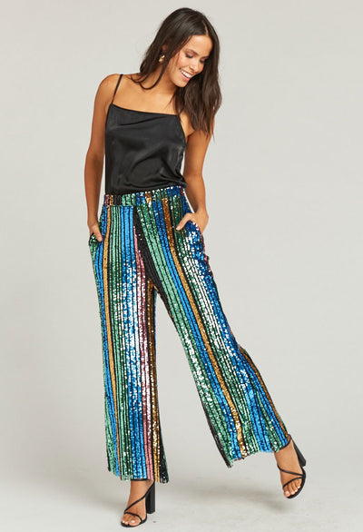 LEIGH PANTS ~ COCKTAIL STRIPE SEQUINS