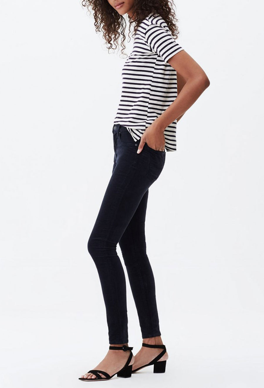 ROCKET VELOUR HIGH RISE SKINNY - NEPTUNE