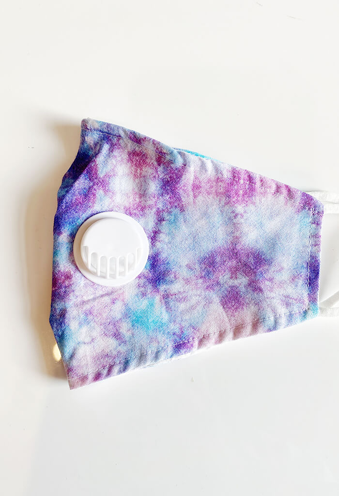 KK Bloom Boutique Lilac Tie Dye Face Mask with Air Valve-side fold