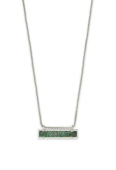 Leanor Silver Pendant Necklace in Sage Drusy