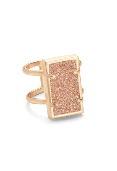 Lennox Ring in Rose Gold - Sand Drusy