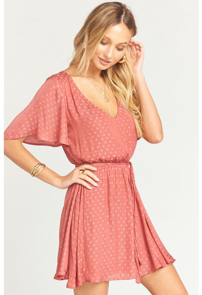 ANASTASIA DRESS ~ SANGRIA SILKY DOTS