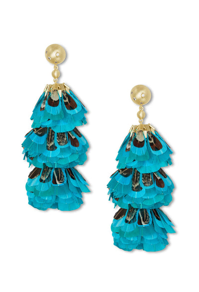 Lenni Gold Statement Earrings In Teal Feathers