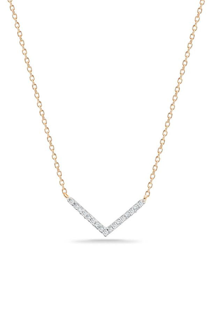 Adina Reyter Tiny Pavé V Necklace 14k Gold