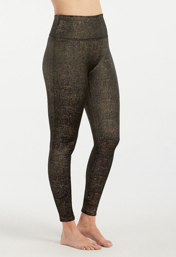 Velvet Shine Leggings - Black/Gold