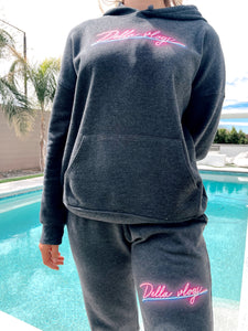 Grey Sweat Pants with Neon Pink Logo