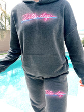 Load image into Gallery viewer, Grey Hoodie with Pink Neon Logo