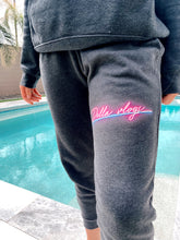 Load image into Gallery viewer, Grey Sweat Pants with Neon Pink Logo