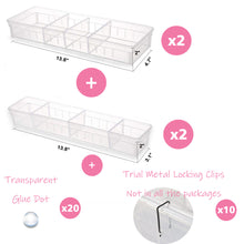 "Load image into Gallery viewer, Drawer Organizer, 12 Adjustable Dividers, Clear Plastic, Set of 4 Trays (2 Big and 2 Small) 13.8""Length"