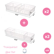 "Load image into Gallery viewer, Drawer Organizer, 8 Adjustable Dividers, Clear Plastic, Set of 4 Trays (2 Big and 2 Small) 10.6""Length…"