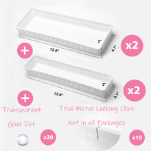 "Load image into Gallery viewer, White Drawer Organizer, 12 Adjustable Dividers, White Plastic, Set of 4 Trays (2 Big and 2 Small) 13.8""Length"