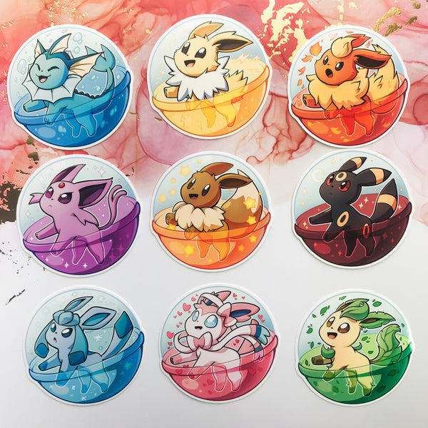 Pokemon Eeveelution Gachapon Stickers