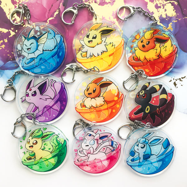 Pokemon Eeveelution Holo Acrylic Charms